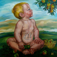 """MACDONALD'S BOY"", Oil & 23K Gold Leaf on Linen, 16""x16"", 2004"