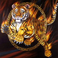 """TIGER TIGER II"", Oil & 23K Gold Leaf on Linen, 45""x45"", 2004"