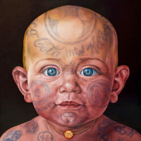 """BABY WITH NECKLACE"", Oil & 23K Gold Leaf on Linen, 50""x50"", 2008"