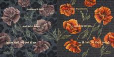 """Flora in Grisaille: """"BELGIAN"""", (Large), Oil & 23K Gold Leaf on Linen, 42""""x84"""", 2015"""