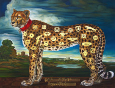 """CHEETAH II"", Oil & 23K Gold Leaf on Linen, 50""x60"", 2011-12"