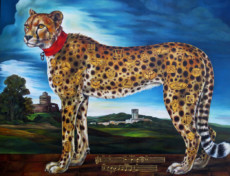 """CHEETAH I"", Oil & 23K Gold Leaf on Linen, 31""x40"",2008-09"