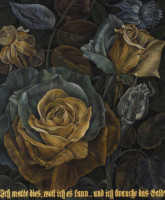 "Flora in Grisaille: ""GERMAN"", (Small), Oil & 23K Gold Leaf on Linen, 24""x20"", 2011"
