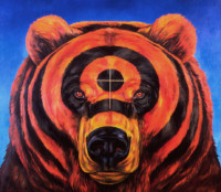 """TARGET BEAR"", Oil & 23K Gold Leaf on Linen, 35""x40"", 1996"