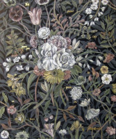 """Flora in Grisaille: """"FRENCH"""", (Small), Oil & 23K Gold Leaf on Linen, 24""""x20"""", 2012"""