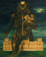 """BERLIN BEAR"", Oil & 23K Gold Leaf on Linen, 76""x60"", 1993"
