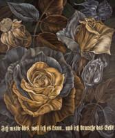 """Flora in Grisaille: """"GERMAN"""", (Medium), Oil & 23K Gold Leaf on Linen, 42""""x35"""", 2013"""