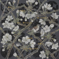 "Flora in Grisaille: ""JAPANESE A"", (Small), Oil & 23K Gold Leaf on Linen, 24""x24"", 2013"