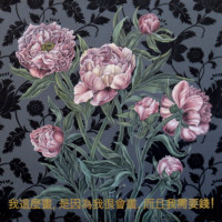 "Flora in Grisaille: ""CHINESE A"", (Large), Oil & Gold Leaf on Linen, 56""x56"", 2016"