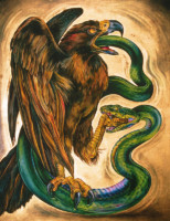 """EAGLE & SNAKE #1"", Water Color & 23K Gold Leaf on Paper, 40""x31"", 1990"