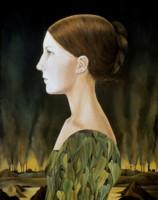 """""""GIRL IN LEAF DRESS"""", Oil on Linen, 34""""x25"""", 1968"""