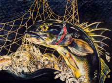 """STUDY FOR ""THE CATCH"", Oil & Pastel & 23K Gold Leaf on Paper, 22""x30"", 1985"