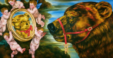 """THE LOOKING GLASS"", Oil & 23K Gold Leaf on Linen, 42""x80"", 1995"