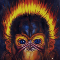 """ORANG UTAN BABY"", Oil & 23K Gold Leaf on Linen, 42""x42"", 2001"