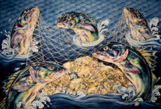 """THE CATCH"", Watercolor & 23K Gold Leaf on Paper, 40""x60"", 1985-86"