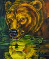 """""""REFLECTION I"""", Oil & 23K Gold Leaf on Linen, 24""""x20"""", 1995"""