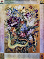 "SNAKE BOUQUET"", WC & 23K Gold Leaf on Paper, 30""x22"", 1976"