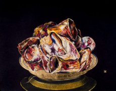 """PLATE WITH BONES"", Oil, Pastel & 23K Gold Leaf on Paper, 22""x28"", 1986"