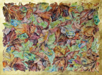 """MAPLE LEAVES"", Water Color & 23K Gold Leaf on Paper, 16 1/2""x22"", 1975-76"