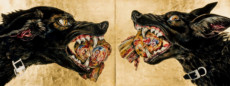 """DOG HEADS #2"", Watercolor & 23K Gold Leaf on Paper, 26 1/2""x70"", 1986"