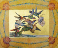 """HUMMINGBIRDS, Water Color & 23K Gold Leaf on Paper, 18""x22"", 1976"