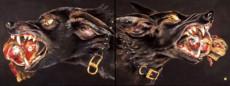 """""""DOG HEADS #1"""", Oil, Pastel & 23K Gold Leaf on Paper, 22 1/2""""x60"""", 1986"""