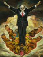"""VICTORY"", Oil & 23K Gold Leaf on Canvas, 20""x15"", 1997"