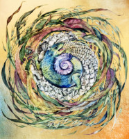 """ OUROBOROS"", Water Color & 23K Gold Leaf on Paper, 24""x22"" 1976-77"