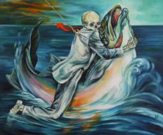 """MAN ON A FISH"", Oil & 23K Gold Leaf on Canvas, 20""x24"", 1996"