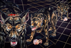 """DOGS ON A TILE FLOOR #4"", Water Color & 23K Gold Leaf on Paper, 40""x60"", 1986-87"