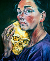 """SELF WITH GOLD SKULL"", Oil & 23K Gold Leaf on Canvas, 24""x20"", 1991"