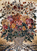 """""""ROSE CYCLE"""", Water Color & 23K Gold Leaf on Paper, 30""""x22"""", 1978"""