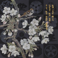 "Flora in Grisaille: ""JAPANESE B"", (Small), Oil & 23K Gold Leaf on Linen, 24""x24"", 2013"