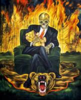 """""""MAN IN AN ARMCHAIR III"""", Oil & 23K Gold Leaf on Linen, 57""""x48"""", 1999"""