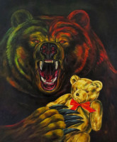 """MAMA BEAR"", Oil & 23K Gold Leaf on Linen, 34""x28"", 1994"