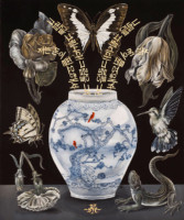 "Flora in Grisaille: ""KOREAN"", (Medium), Oil & 23K Gold Leaf on Linen, 42""x35"", 2013-2014 - Porcelain Vase by Steven Young Lee, Korean Calligraphy by Larry Thomas"