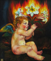 """PUTTO WITH LILY"", Oil & 23K Gold Leaf on Linen, 24""x20"", 1997"