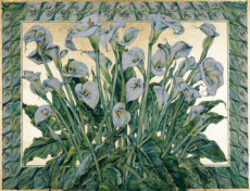 """CALLA LILIES"", Watercolor & 23K Gold Leaf on Paper, 30""x40"", 1982"