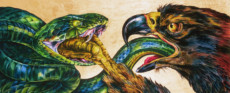 """EAGLE & SNAKE FRIEZE"", Water Color & 23K Gold Leaf on Paper, 24""x60"", 1990"