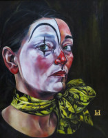 """SELF AS A CLOWN"", Oil & 23K Gold Leaf on Canvas, 20""x16"", 1991"