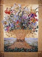 """MADONNA BOUQUET"", Water Color & 23K Gold Leaf on Paper, 35""x26"", 1978"