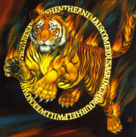 """TIGER TIGER I"", Oil & 23K Gold Leaf on Canvas, 19""x19"", 1999 - Quote from ""The Earth"" by Gary Lawless"