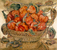 """PERSIMMONS"", Water Color & 23K Gold Leaf on Paper, 24""x28"", 1977"