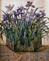 """IRIS BASKET"", Water Color & 23K Gold Leaf on Paper, 24""x22"", 1979-80"