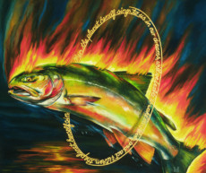 """SALMON"", Oil & 23K Gold Leaf on Canvas, 16""x19"", 1999"