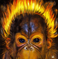 """ORANG UTAN BABY I"", Oil & 23K Gold Leaf on Canvas, 13""x13"", 1997"