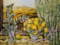 """MARY'S LEMONS"", Water Color & 23K Gold Leaf on Paper, 30""x40"", 1979-80"