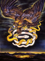 """BROWN EAGLE WITH BRACELET"", Water Color & 23K Gold Leaf on Paper, 39""x29"", 1990"