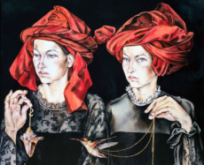 """DOUBLE PORTRAIT WITH VAN EYCK TURBANS"", Water Color & 23K Gold Leaf on Paper"", 12""x16"", 1983-84"
