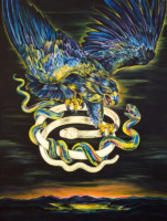"""BLUE EAGLE"", Water Color & 23K Gold Leaf on Paper, 52""x41"", 1990"